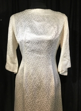1960's White snow frost brocade gown/38