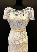 1930's-style White/silver French lace gown/38