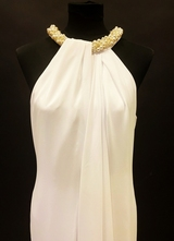 1990's White draped pearl-collier gown/38