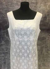 1960's White empire-waist lace gown/40