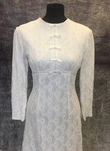 1960's White empire-waist lace gown/38