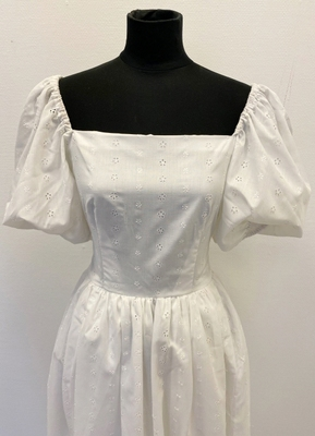 1970's White broderie anglaise gown with puff sleeves/36-38