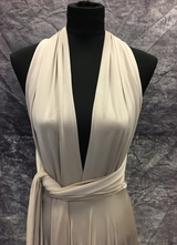 1990's Café-au-lait draped gown/40