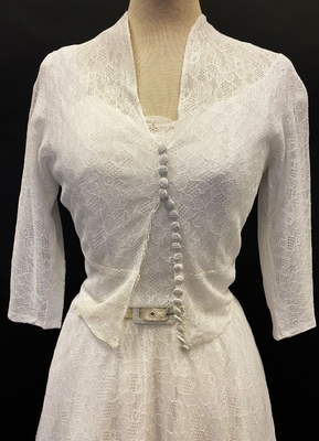 1950's White delicate lace dress with jacket/32-34