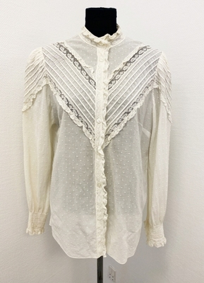 1980's Ivory cotton blouse/38-40