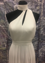1990's White pleated chiffon gown/36
