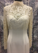 1980's White gown with pearl beaded top/36