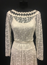 1950's Cream princess lace gown/36-38