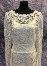 1980's Cream lace dress with open back/38