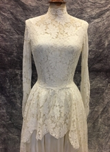 1950's Ivory lace gown with taffeta slip/32-34