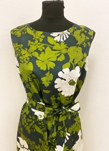 1960's Green floral print dress/40