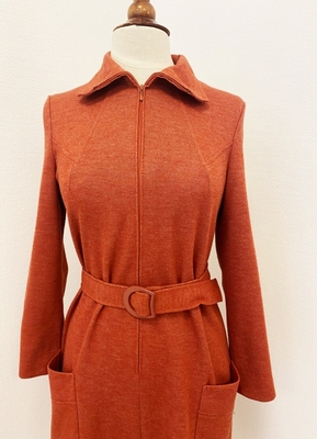 1970's Coralred jersey dress/40