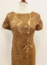 1960's Caramel lace dress/40-42