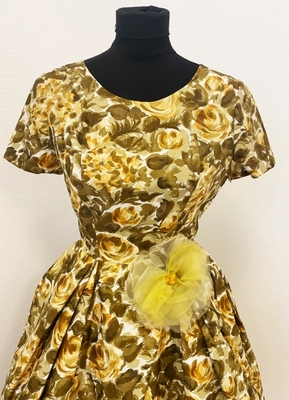 1950's Dusty green yellow floral dress/34-36
