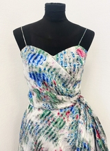 1950's White chiffon dress with pink/blue floral print/34