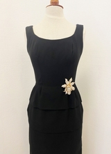1960's Black ruffle gown/36