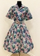 1950's Blue green rose floral dress/38