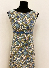 1960's Blue floral evening gown/36