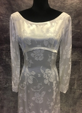 1960's White satin brocade gown/36