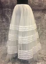 1930's White ribbon tulle skirt/36-38