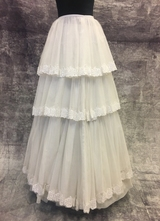 1950's White tiered lace tulle skirt/36