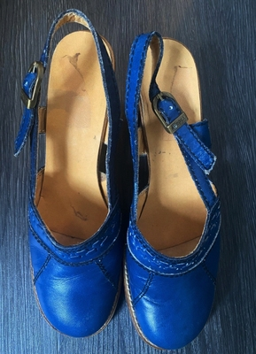 1970's Blue leather shoes/38