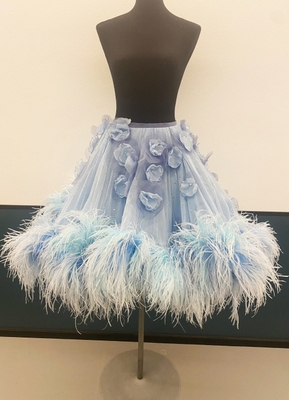 1980's Pale blue ostrich feather skirt/36