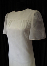1960's White dotted organza gown/36