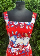 1950's-style Red white floral print dress/36