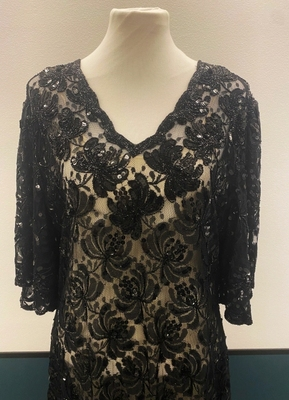 1920's-style Black beaded lace dress/38-40-42