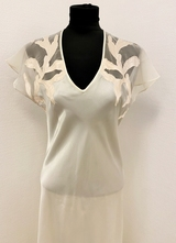 1980's Ivory dress with rose appliques/38