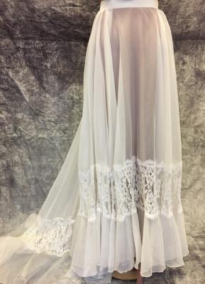 1970's White chiffon lace ruffle skirt/36
