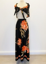 1970's Floral skirt with scarf/36-38
